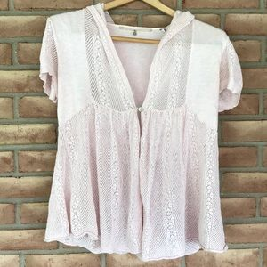 Anthropologie Knitted & Knotted size S pink top